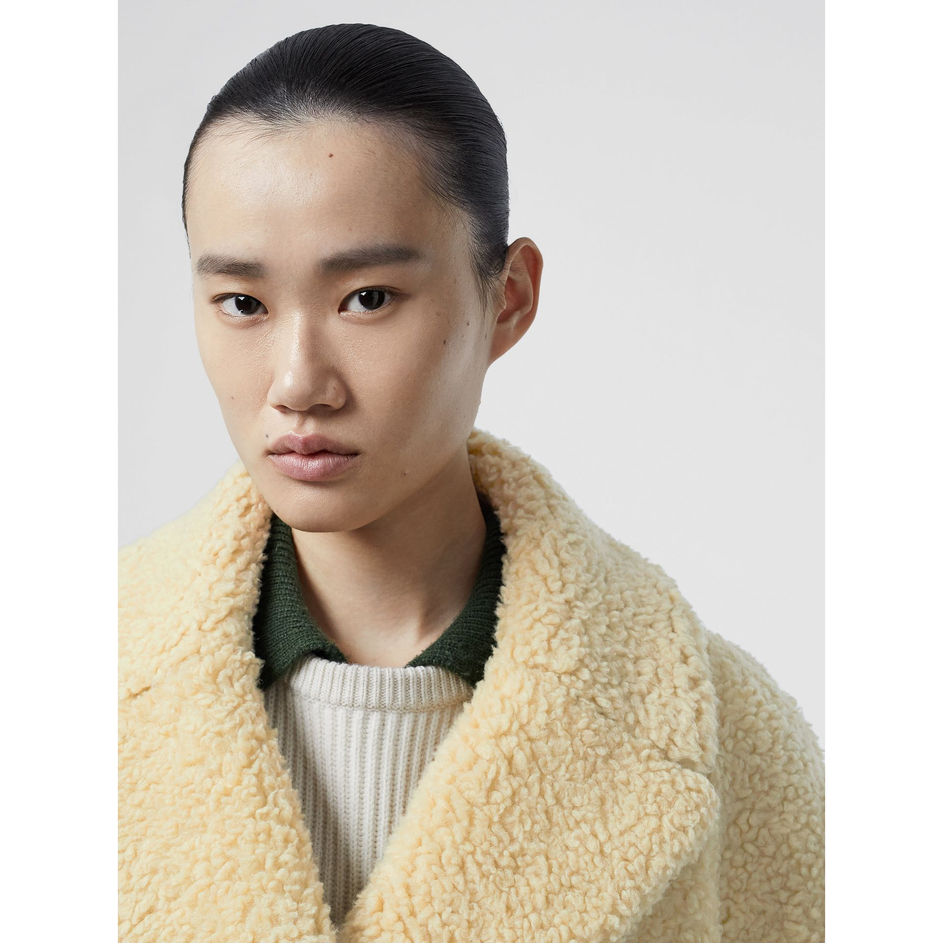 Faux Shearling Double-breasted Oversized Coat in Camomile - Women | Burberry - gallery image 1