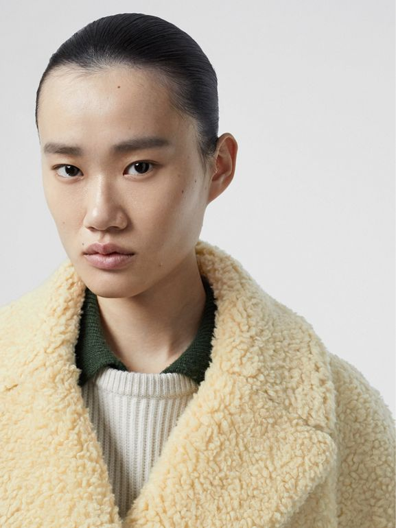 Faux Shearling Double-breasted Oversized Coat in Camomile - Women | Burberry United States - cell image 1