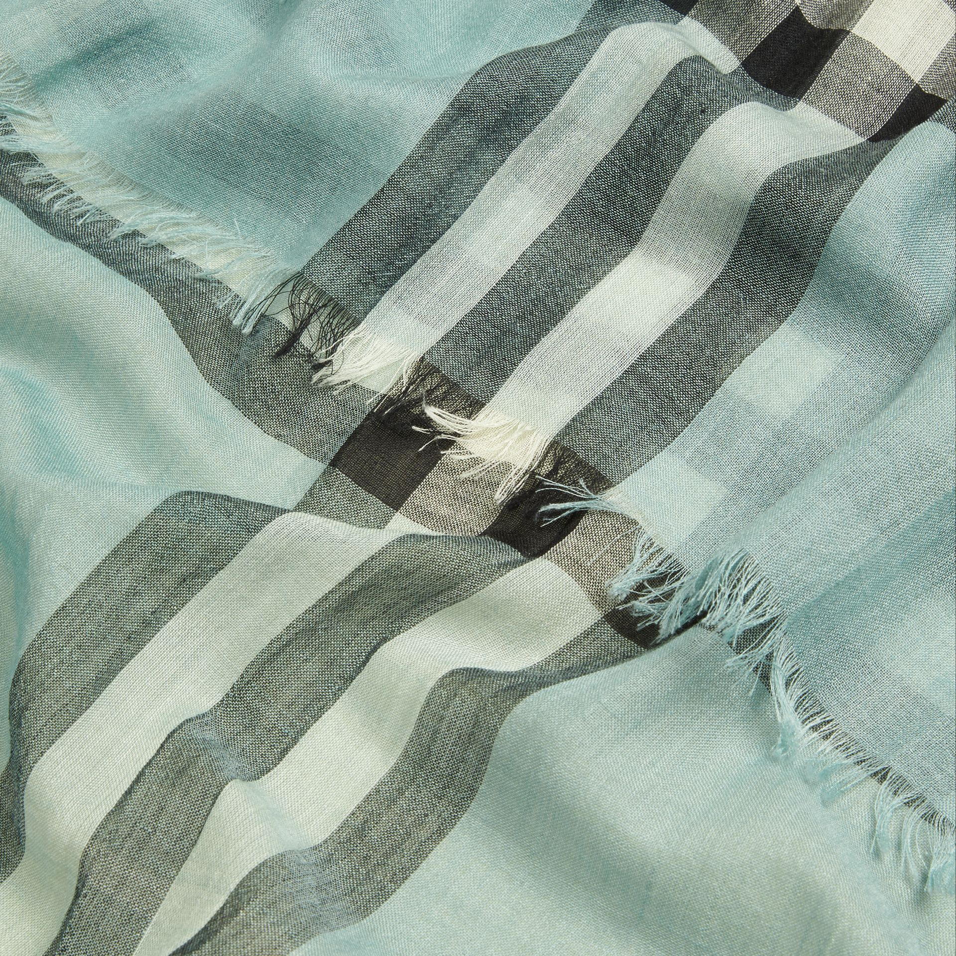 Dusty mint Lightweight Check Wool and Silk Scarf Dusty Mint - gallery image 2