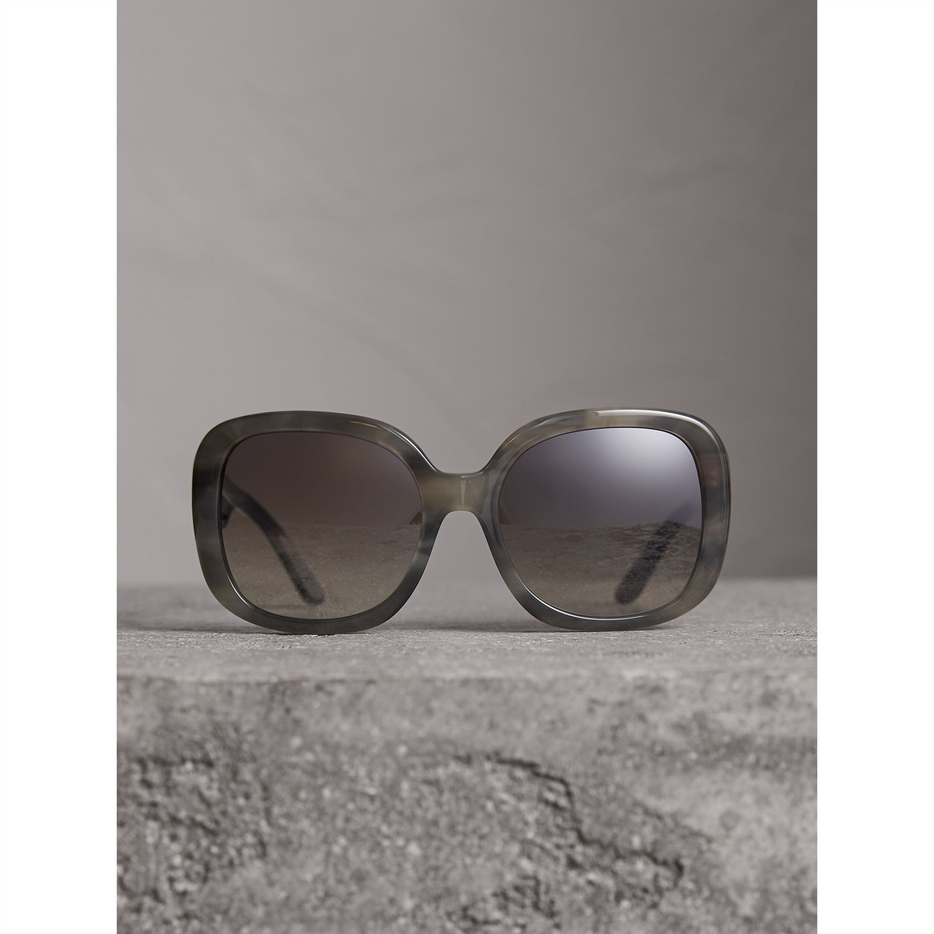 Square Frame Sunglasses in Grey - Women | Burberry United States - gallery image 3