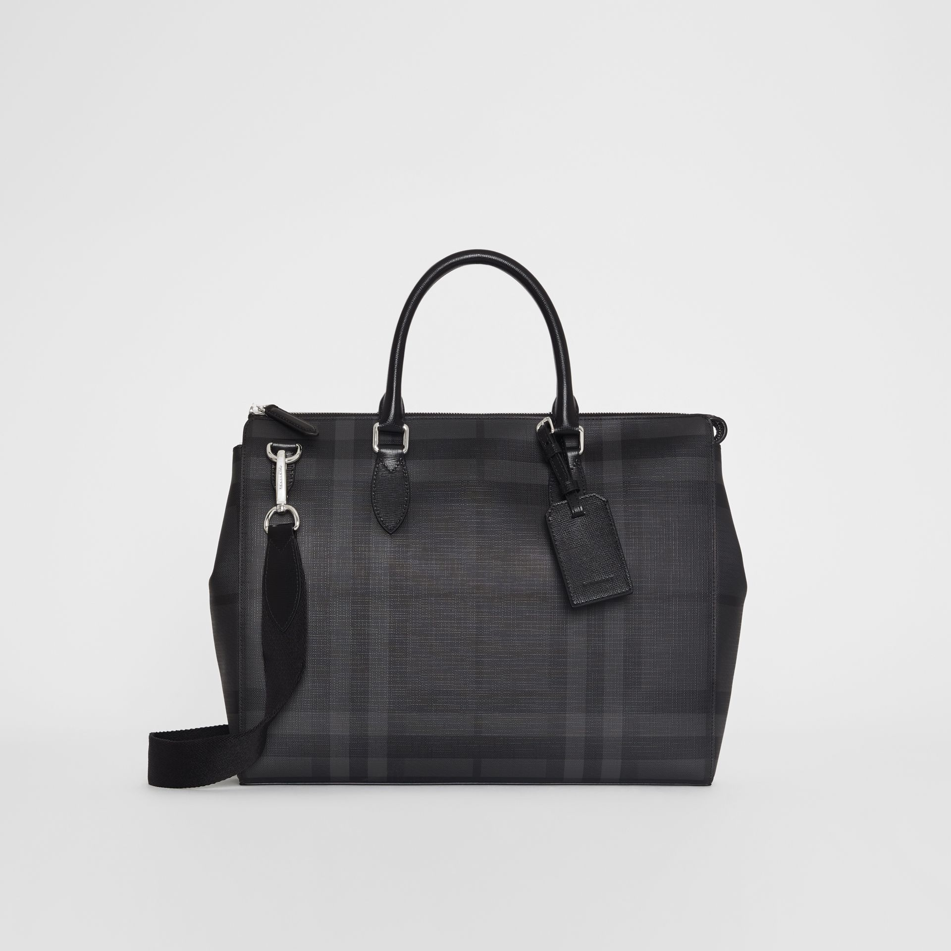 Large London Check Briefcase in Charcoal/black - Men | Burberry Singapore - gallery image 2