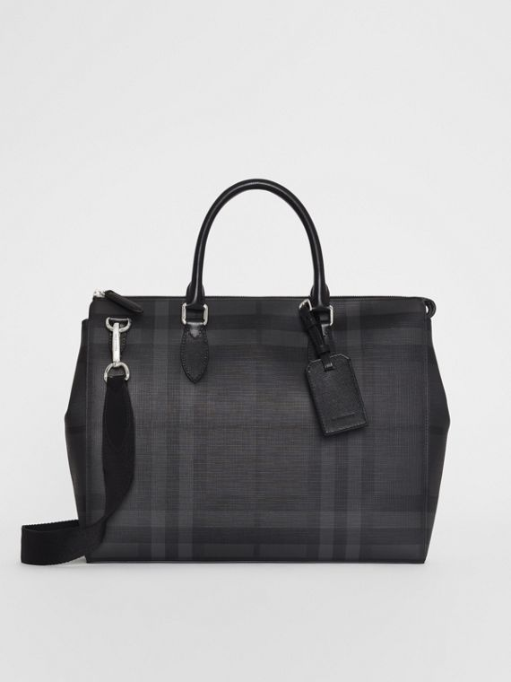 Grand attaché-case à motif London check (Anthracite/noir)