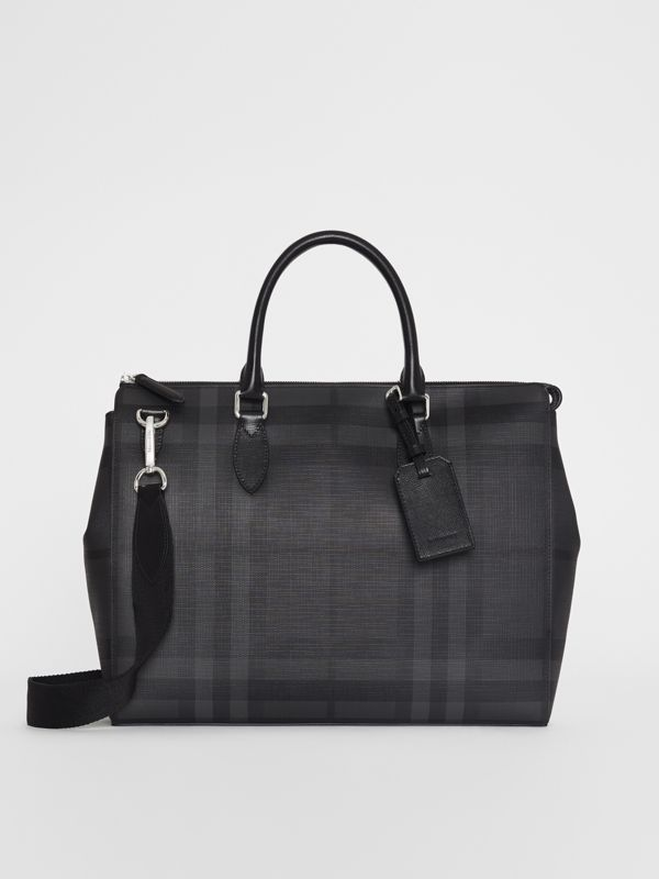 Large London Check Briefcase in Charcoal/black - Men | Burberry Singapore - cell image 2