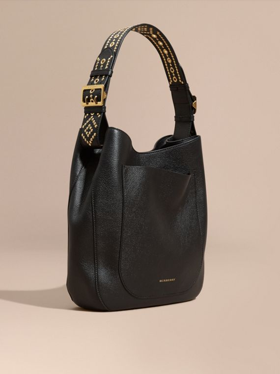 Stud Detail Textured Leather Shoulder Bag
