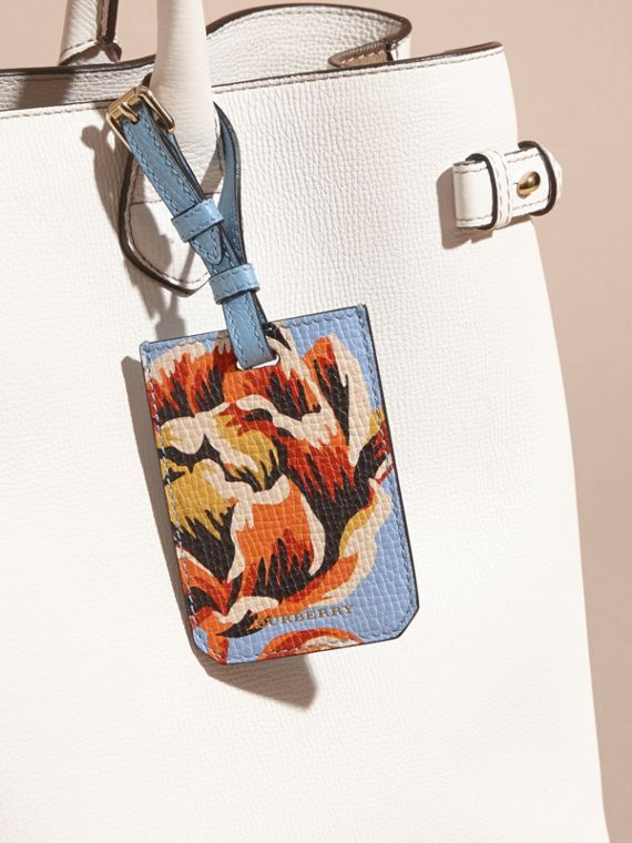 Peony Rose Print Grainy Leather Luggage Tag in Pale Blue/vibrant Orange | Burberry - cell image 2