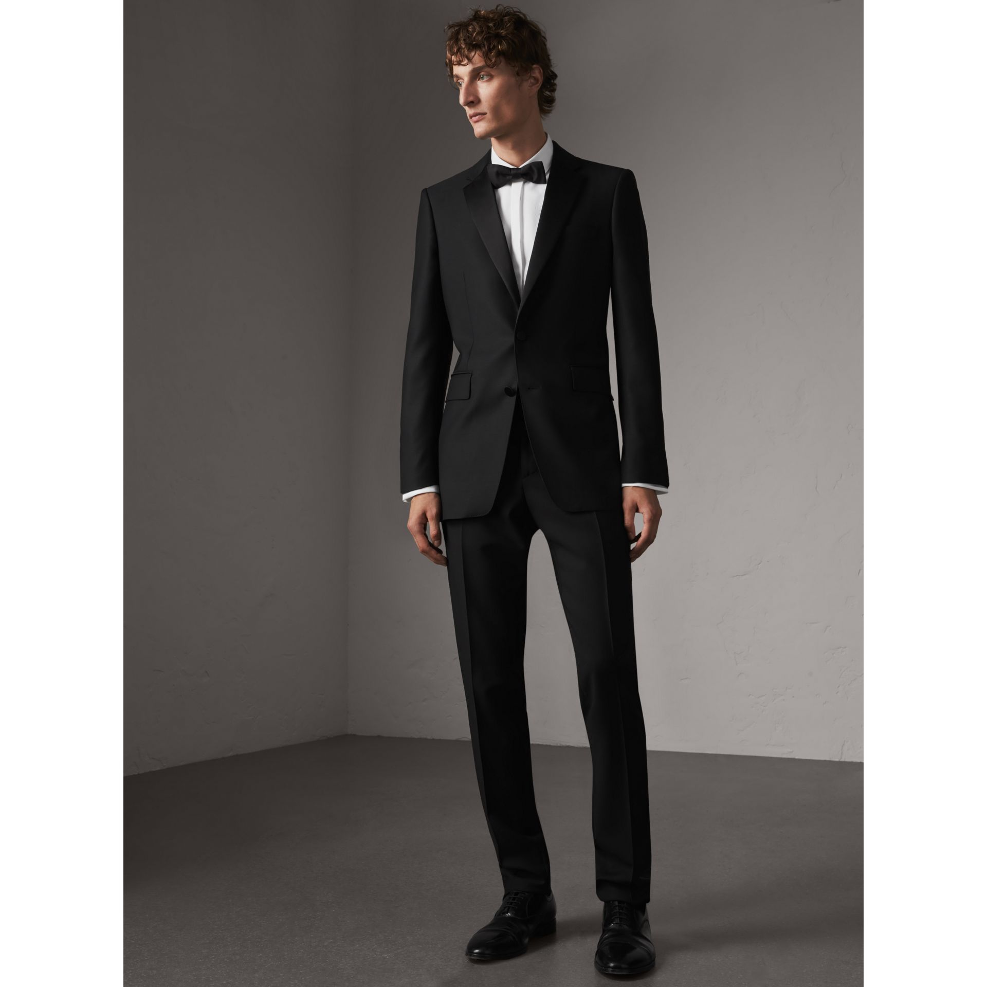 Modern Fit Wool Mohair Half-canvas Tuxedo in Black - Men | Burberry - gallery image 1