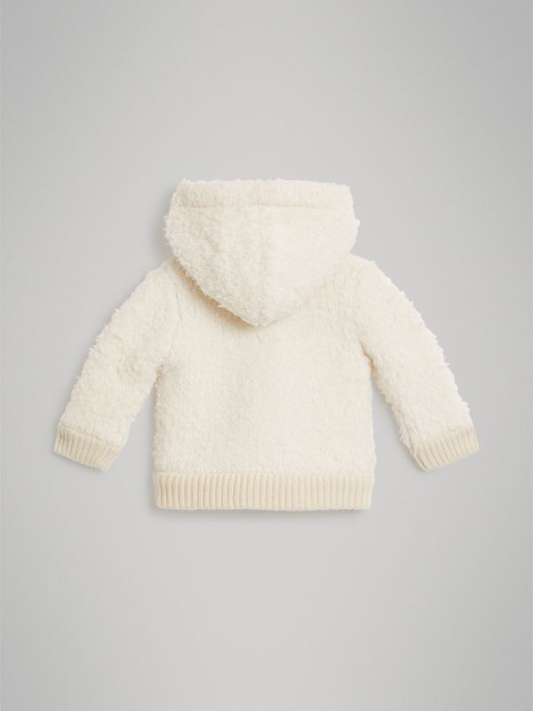 Wool Blend Hooded Top in Ivory - Children | Burberry - cell image 3