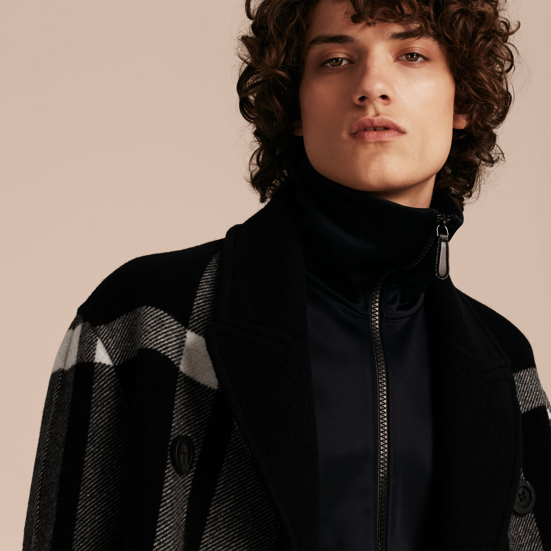 Black Double-breasted Check Wool Cashmere Coat - gallery image 5