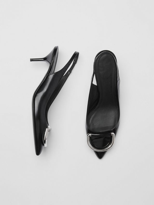 The Leather D-ring Slingback Pump in Black