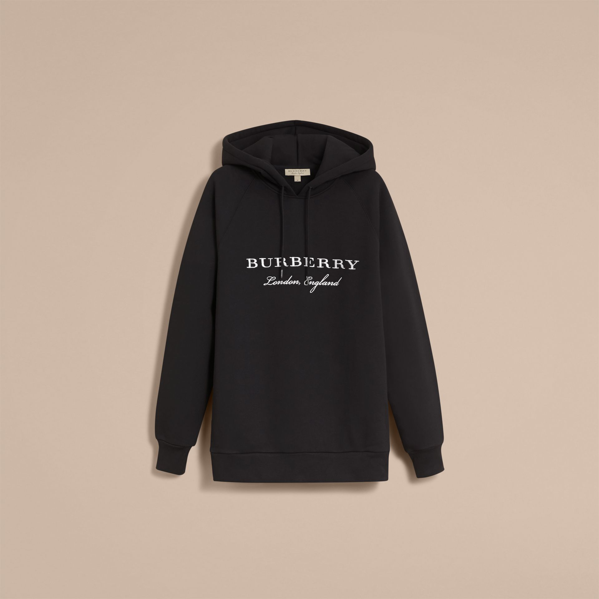 Embroidered Hooded Sweatshirt in Black - Men | Burberry - gallery image 4
