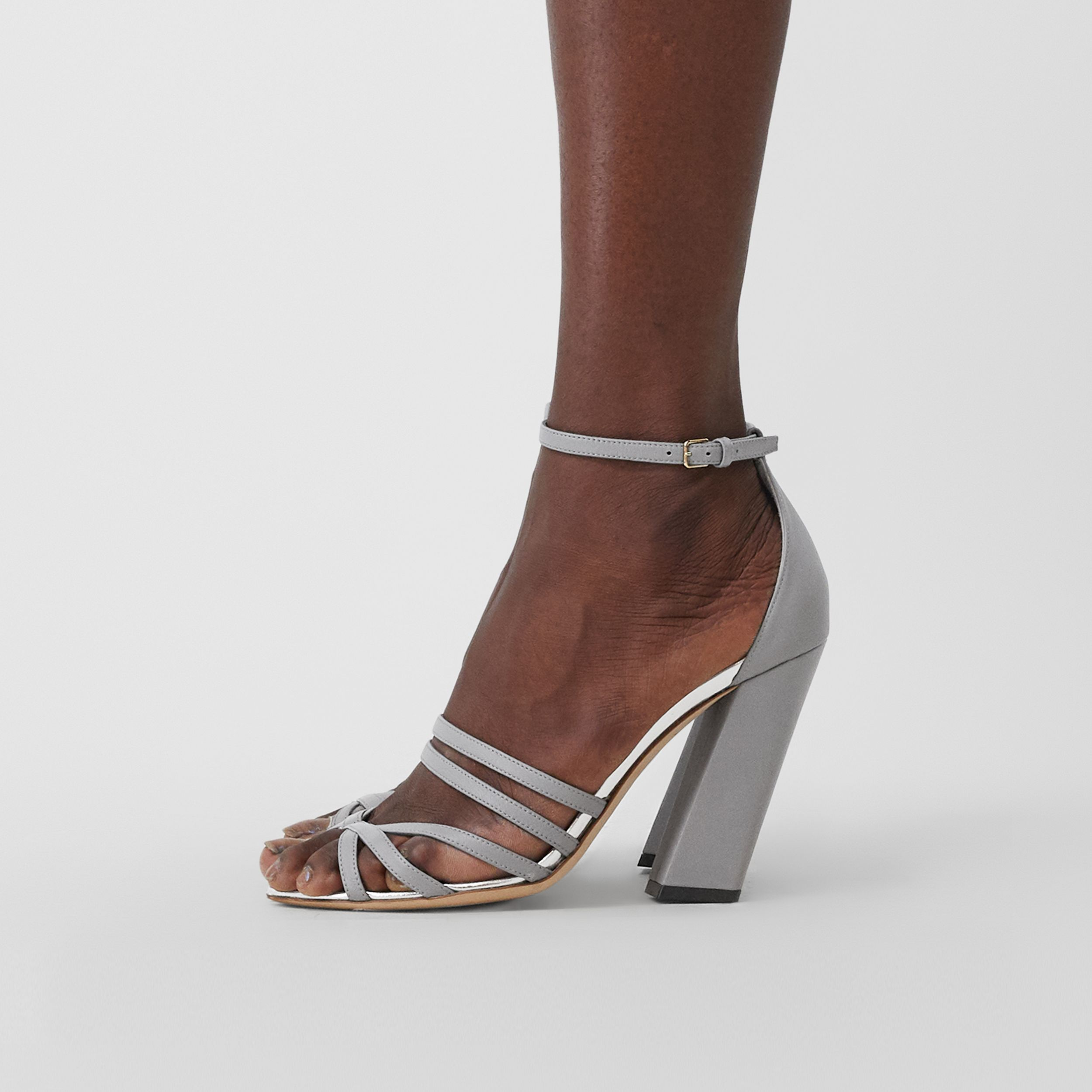 Split-toe Detail Leather Sandals in Cloud Grey - Women | Burberry United Kingdom - 3