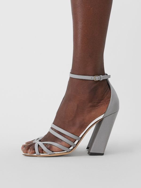 Split-toe Detail Leather Sandals in Cloud Grey - Women | Burberry Canada - cell image 2