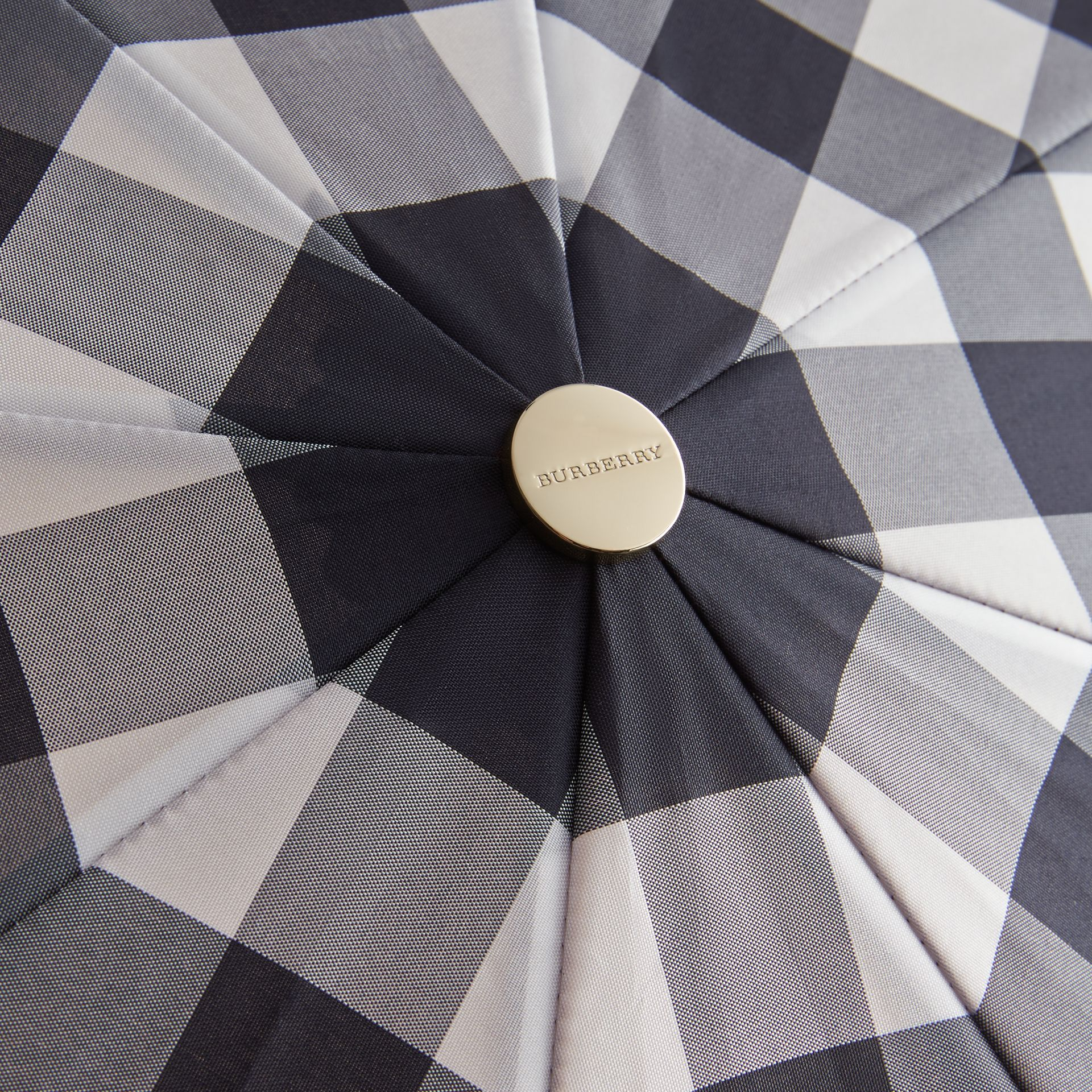 Check Folding Umbrella in Plum - gallery image 4