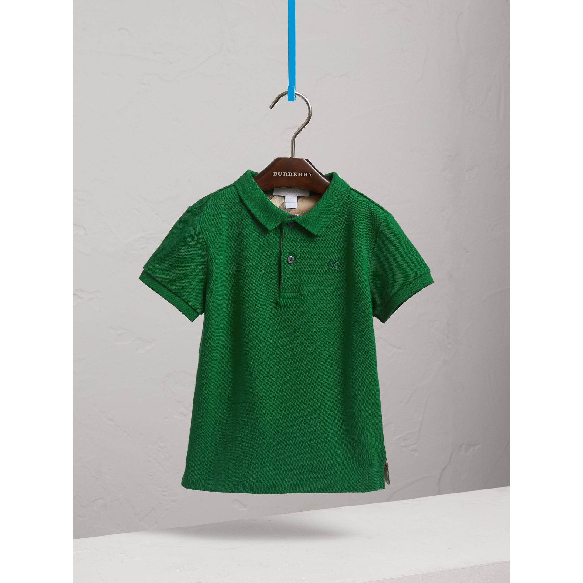 Long-sleeve Cotton Jersey Polo Shirt in Pigment Green - Boy   Burberry United Kingdom - gallery image 3