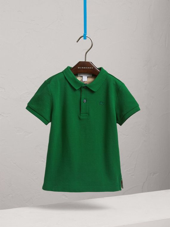 Long-sleeve Cotton Jersey Polo Shirt in Pigment Green - Boy   Burberry United Kingdom - cell image 2