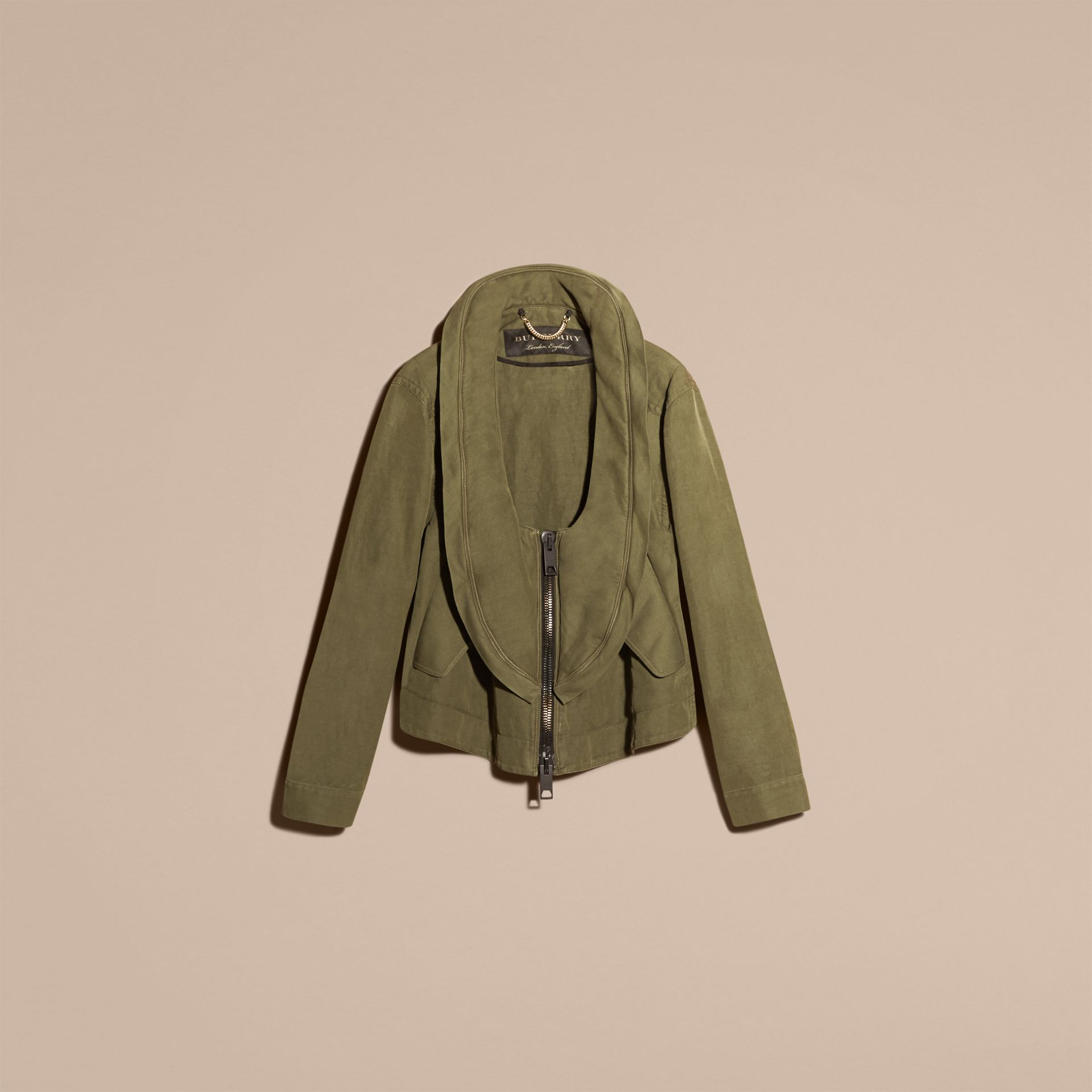 Military green Bib Detail Ramie and Cotton Jacket - gallery image 4