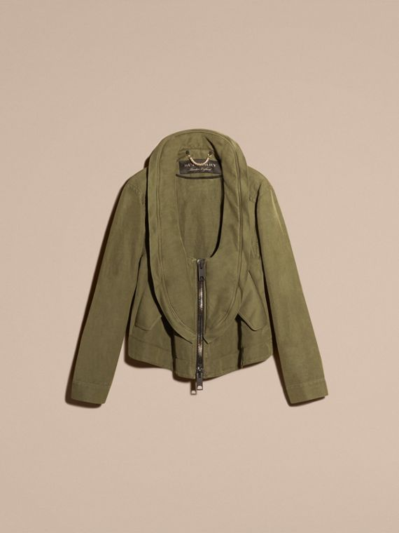 Military green Bib Detail Ramie and Cotton Jacket - cell image 3