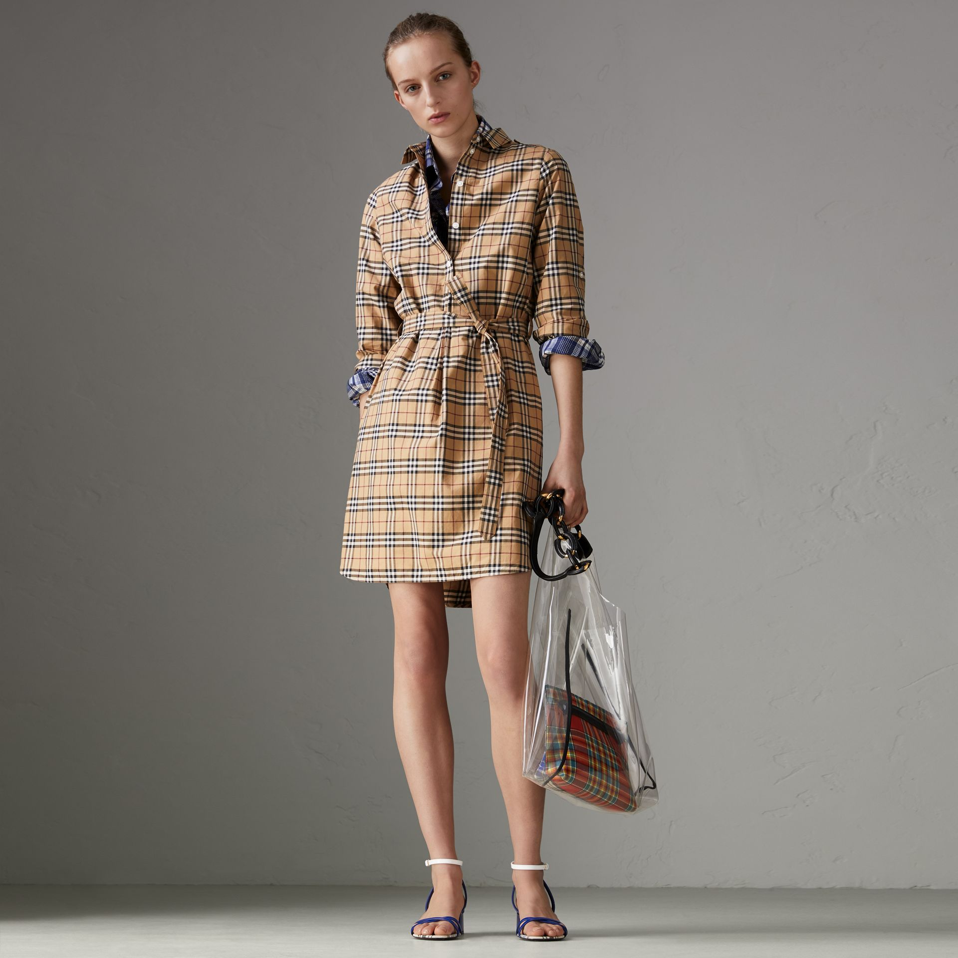 Check Cotton Tunic Dress in Camel - Women | Burberry - gallery image 0