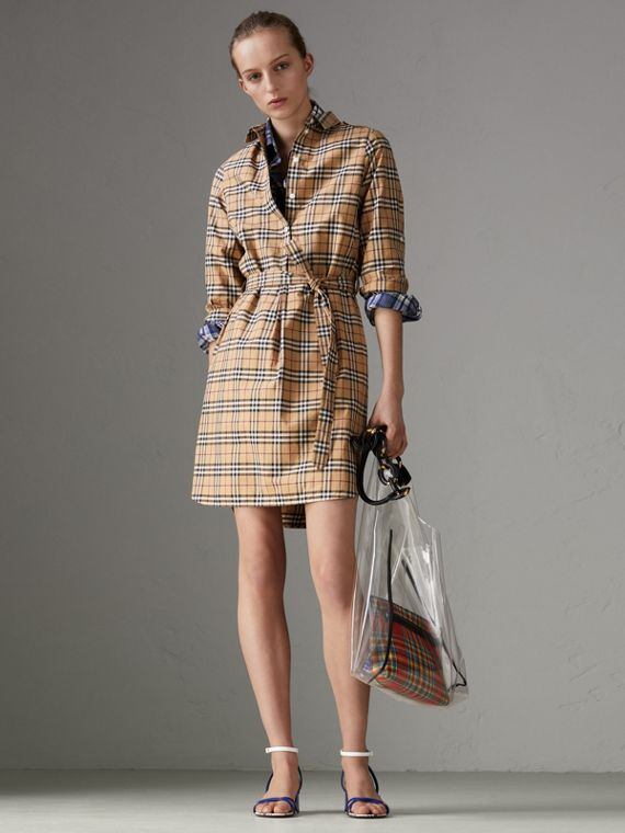 Check Cotton Tunic Dress in Camel