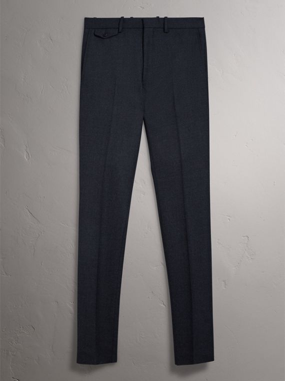 Wool Tailored Trousers in Navy - Men | Burberry - cell image 3