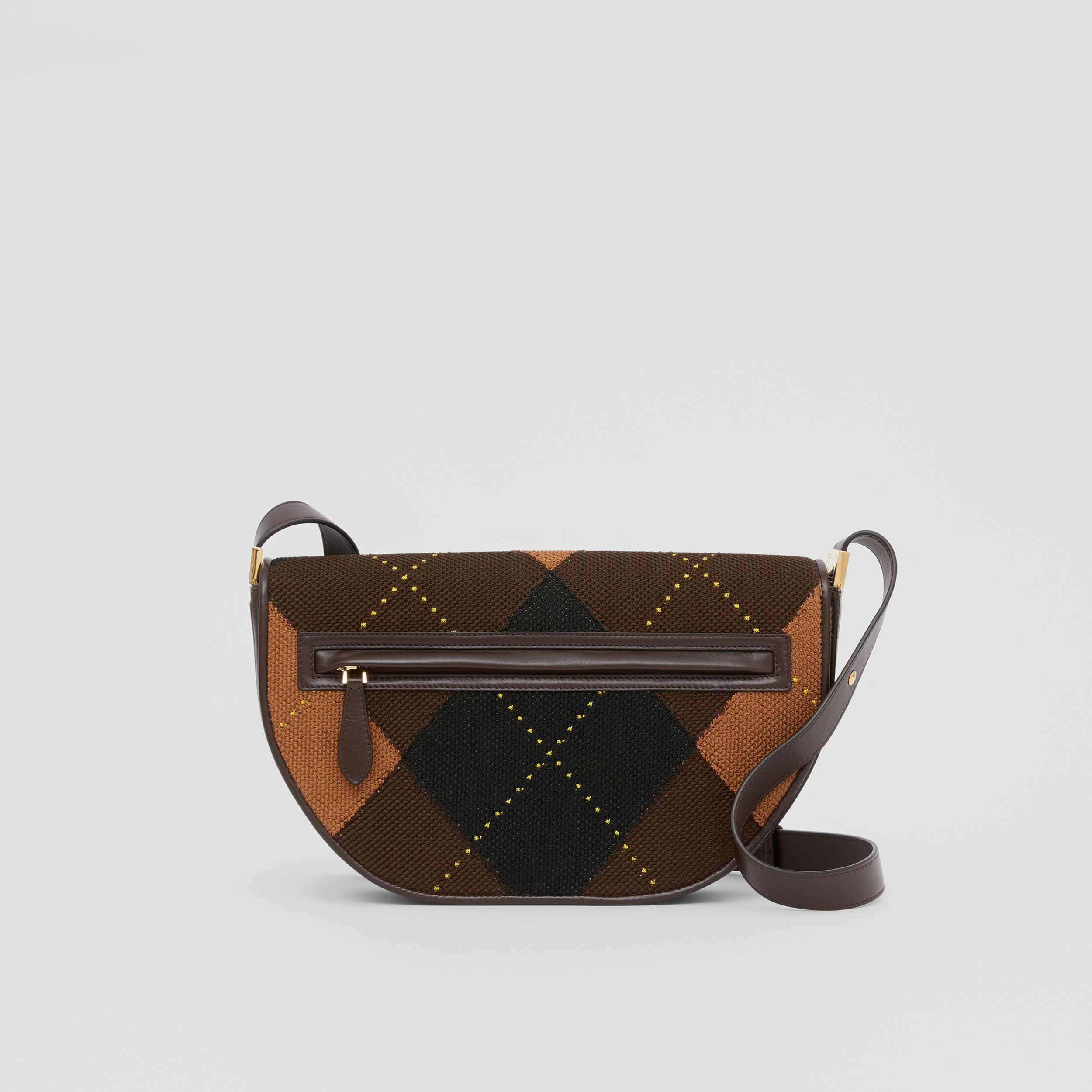 Medium Argyle Knit and Leather Olympia Bag in Dark Khaki - Women | Burberry United Kingdom - 1
