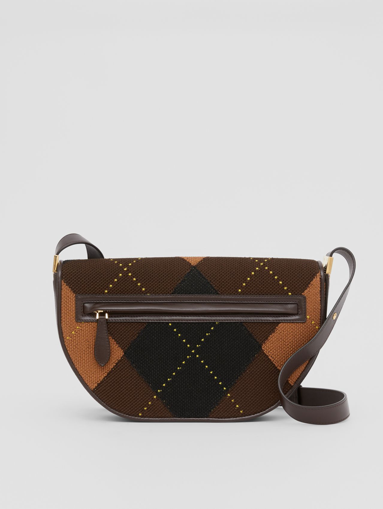 Medium Argyle Knit and Leather Olympia Bag in Dark Khaki
