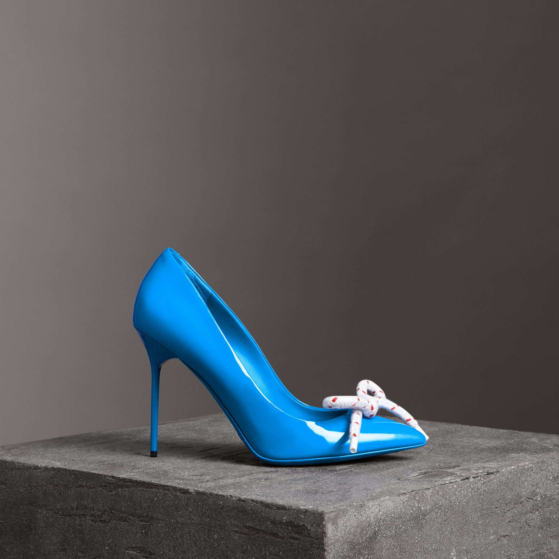 The Patent Leather Rope Stiletto in Blue Azure - Women | Burberry Canada - gallery image 0