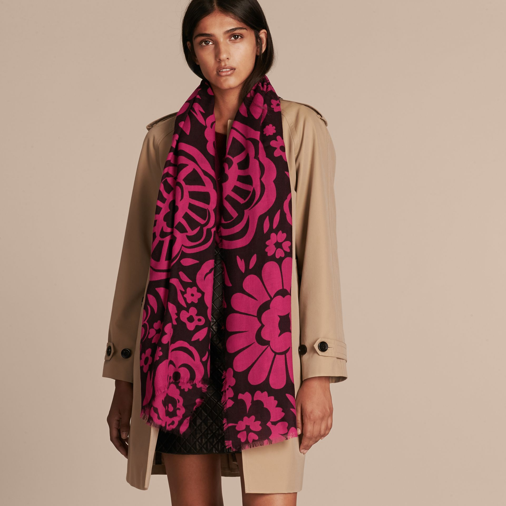 Black/fuchsia Graphic Floral Cashmere Scarf - gallery image 3
