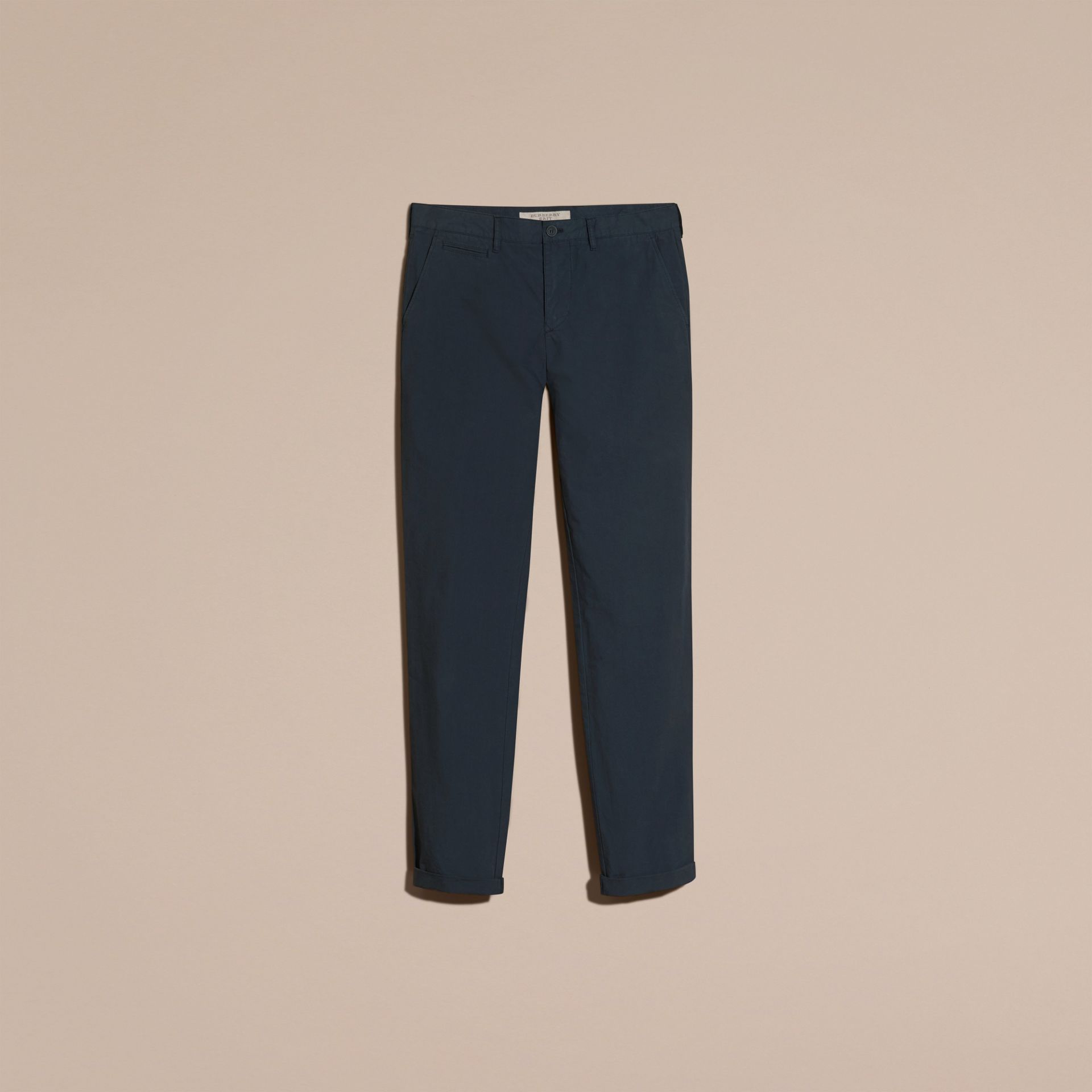 Slim Fit Cotton Poplin Chinos in Indigo - Men | Burberry - gallery image 4
