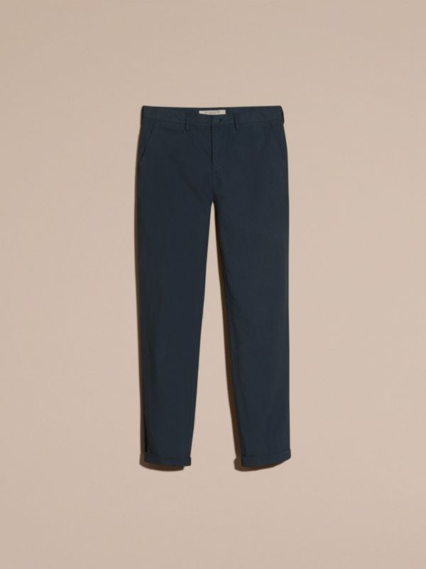 Slim Fit Cotton Poplin Chinos in Indigo - Men | Burberry - cell image 3