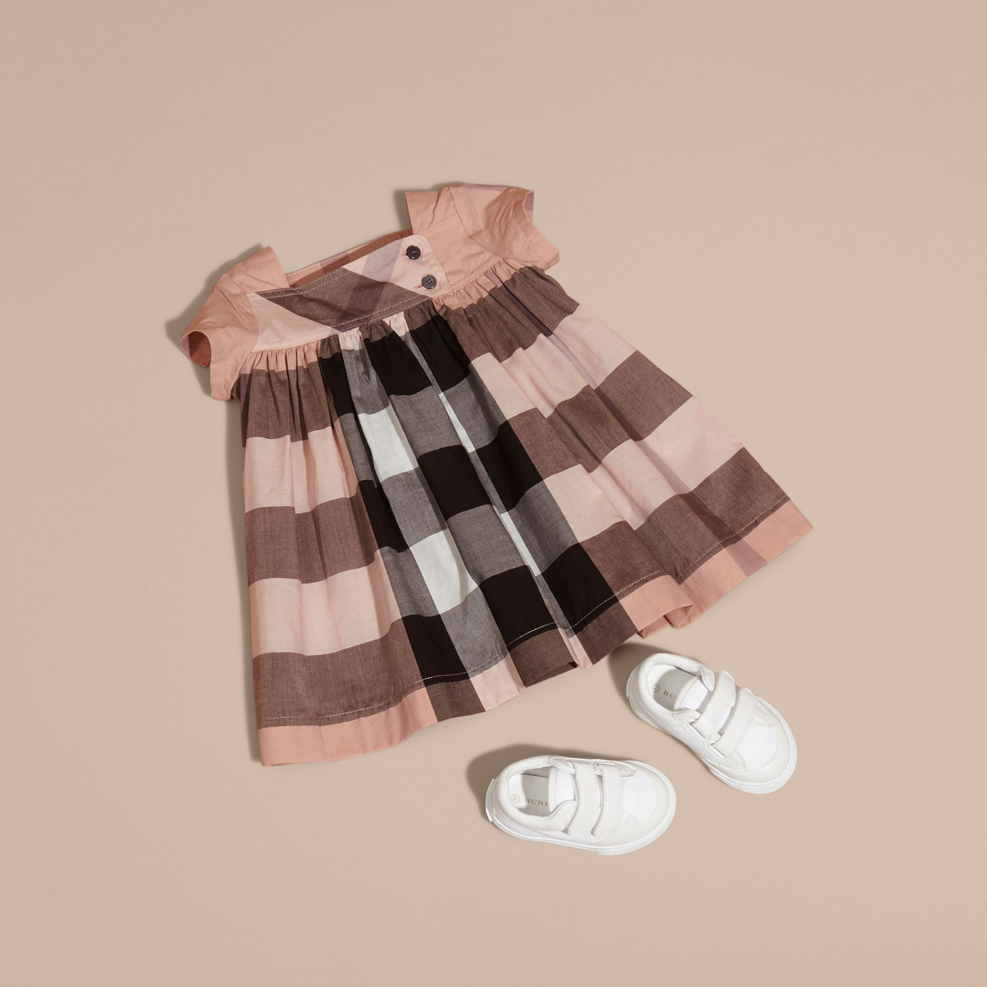 Antique pink Check Cotton Dress - gallery image 5