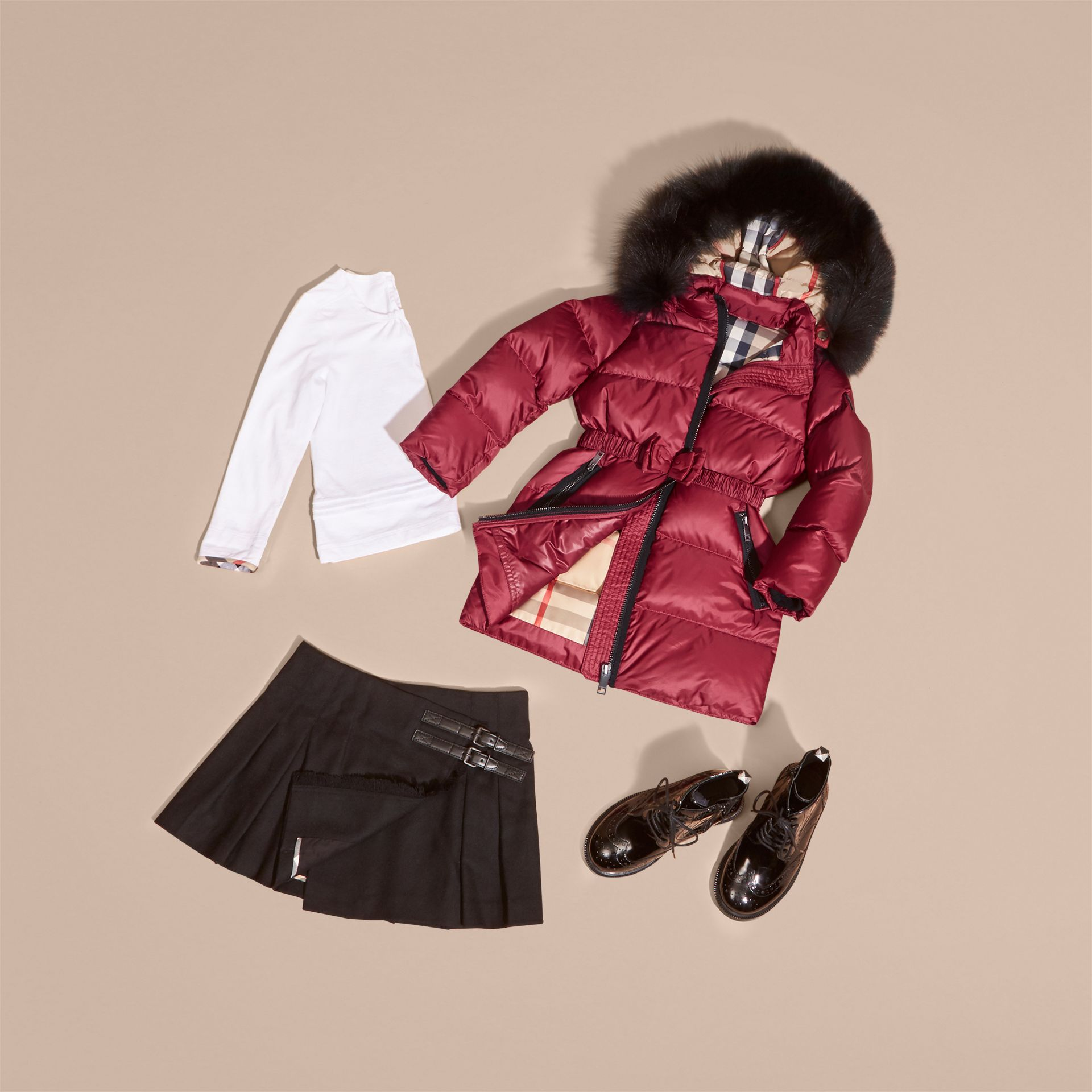 Dark plum pink Down-filled Coat with Detachable Fox Fur-trimmed Hood Dark Plum Pink - gallery image 5