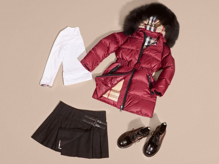 Dark plum pink Down-filled Coat with Detachable Fox Fur-trimmed Hood Dark Plum Pink - cell image 4
