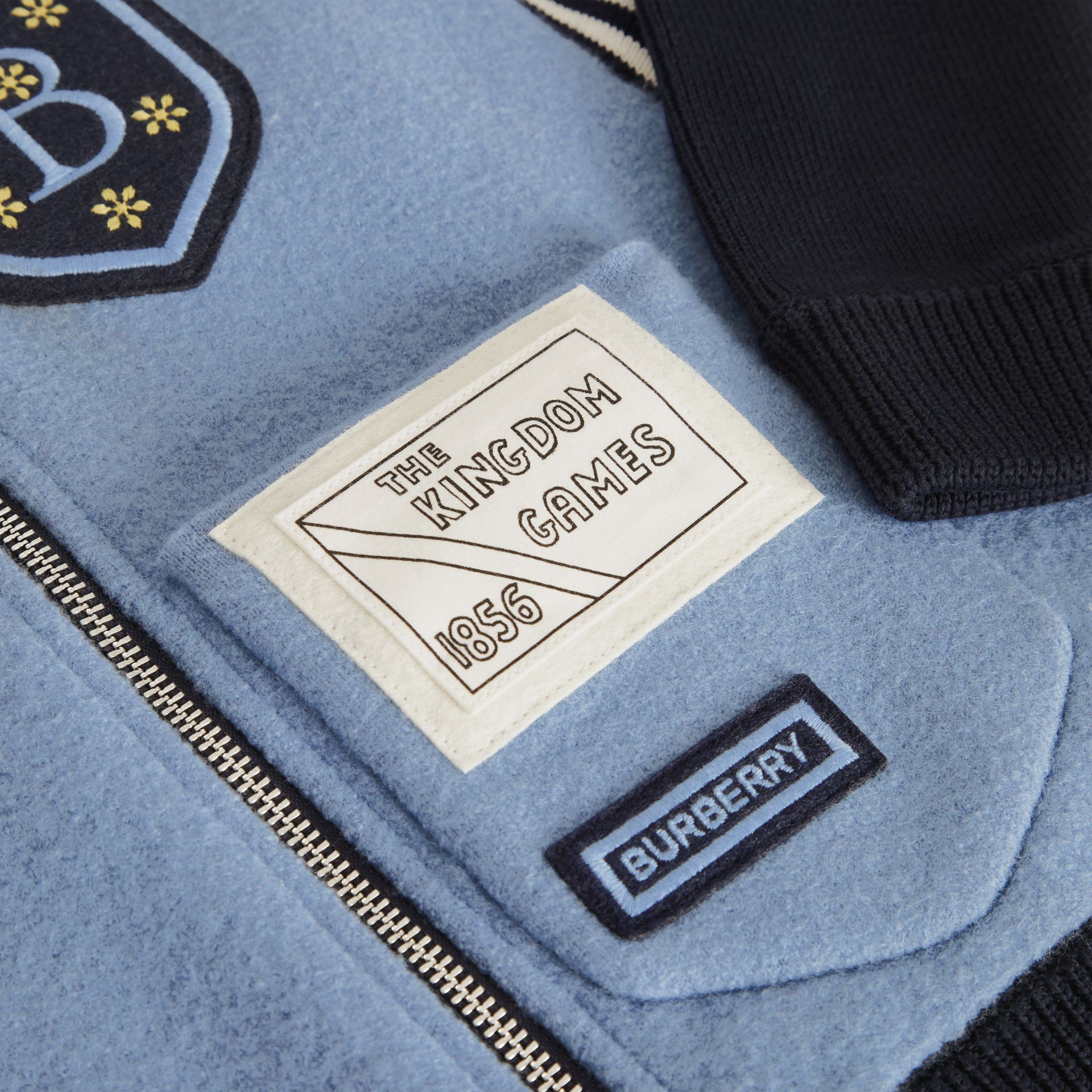 Patch Detail Merino Wool Blend Varsity Jacket in Dusty Blue - Children | Burberry - gallery image 1