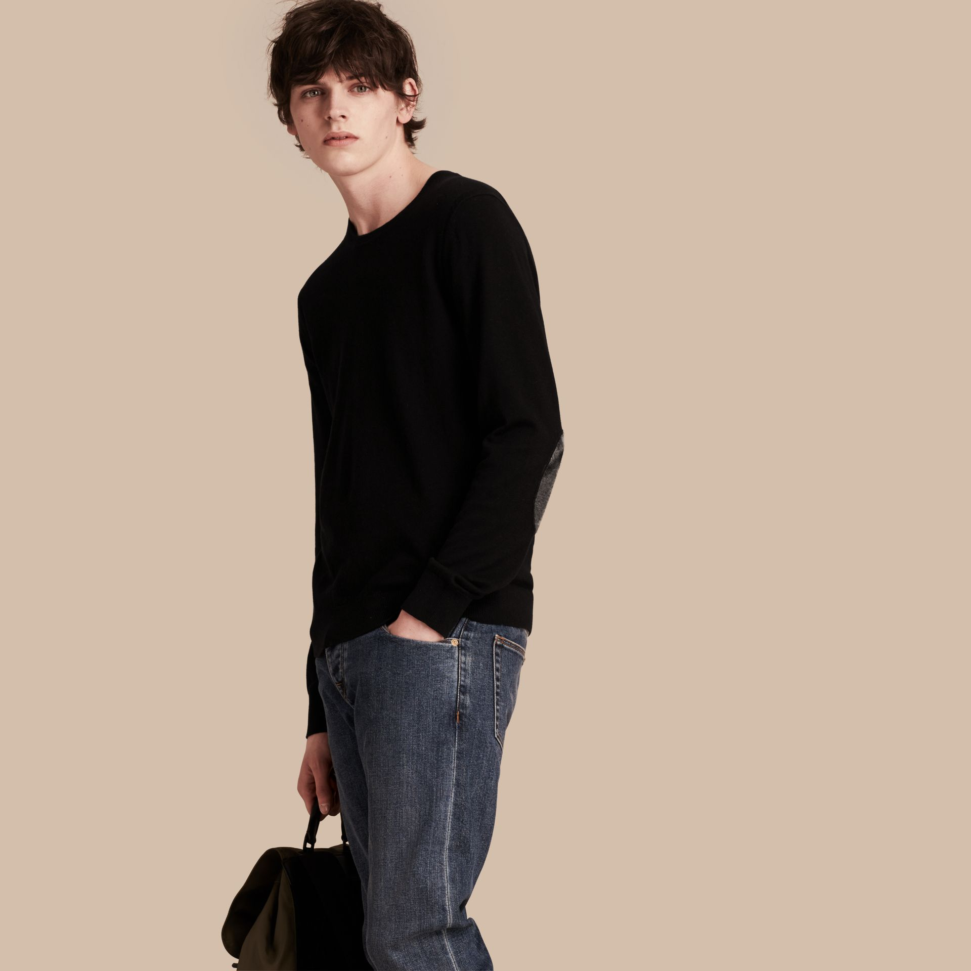 Check Trim Cashmere Cotton Sweater in Black - Men | Burberry - gallery image 1