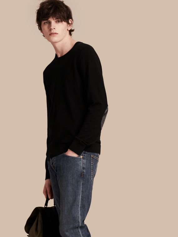 Check Trim Cashmere Cotton Sweater Black