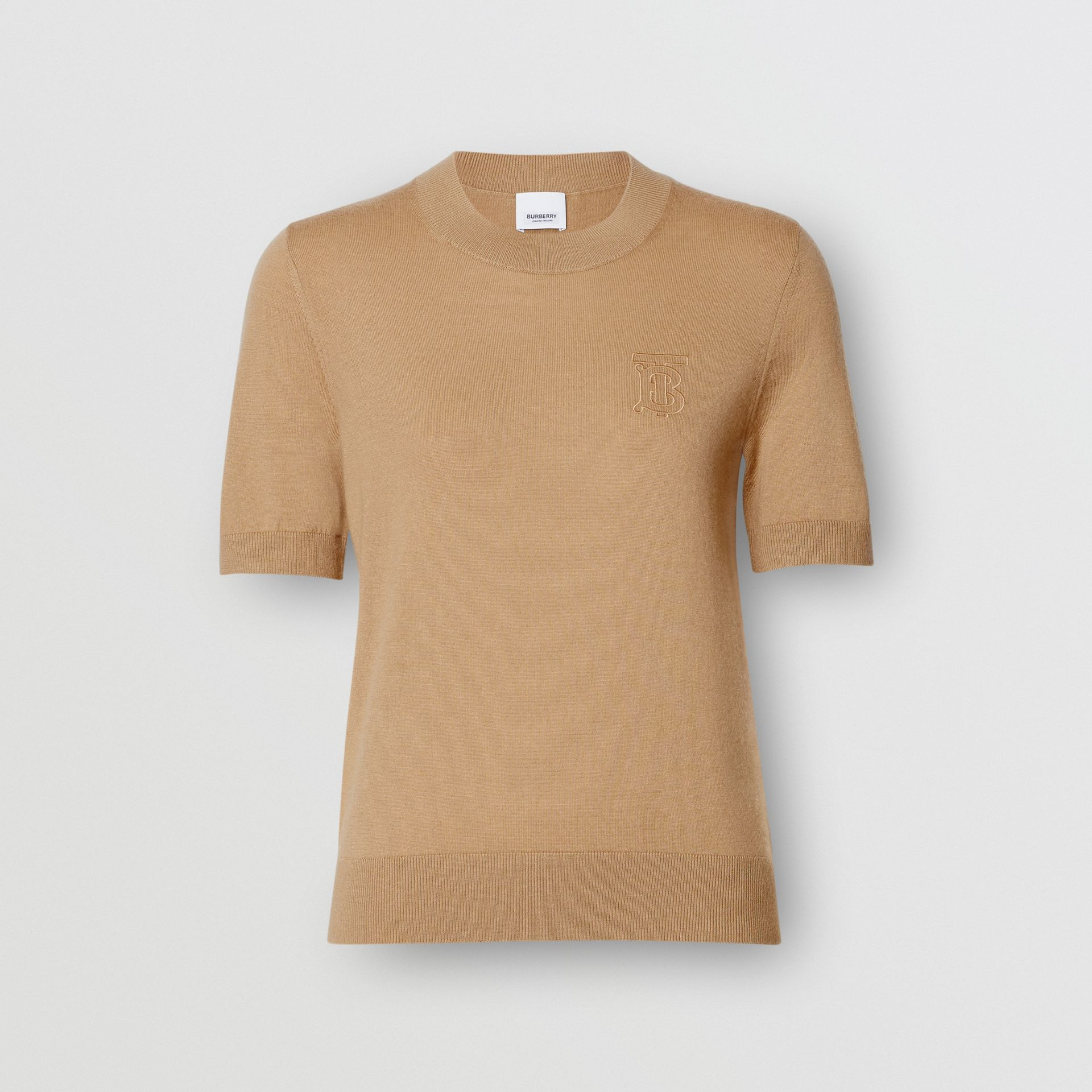 Monogram Motif Cashmere Top in Archive Beige - Women | Burberry United Kingdom - gallery image 3