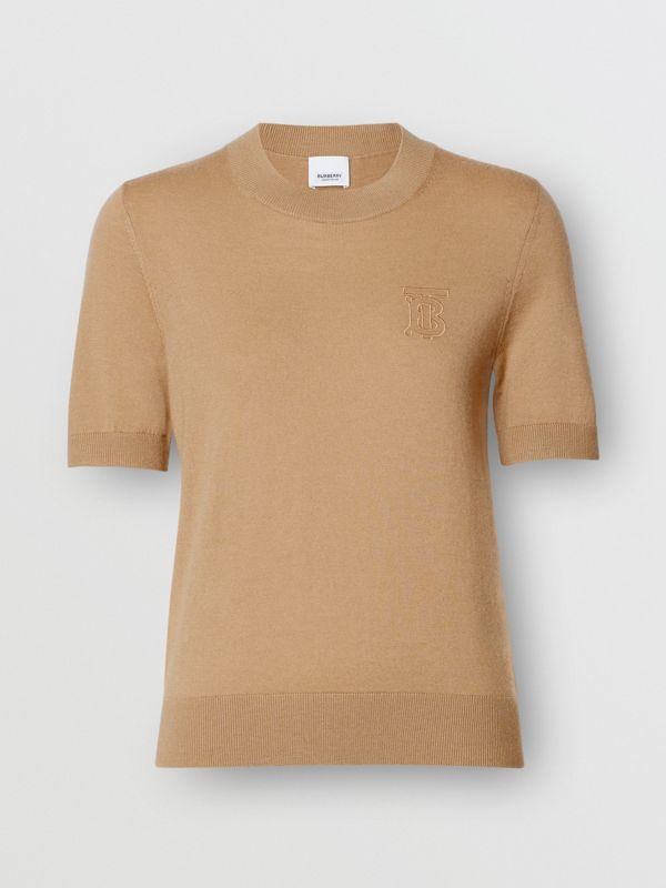 Monogram Motif Cashmere Top in Archive Beige - Women | Burberry Australia - cell image 3