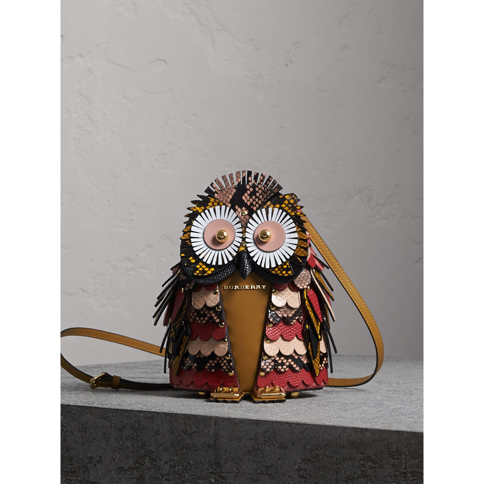 The Owl – Calf Suede and Snakeskin Crossbody Bag in Pale Apricot - Women | Burberry - gallery image 1