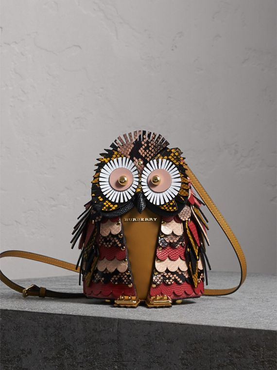 The Owl – Calf Suede and Snakeskin Crossbody Bag in Pale Apricot
