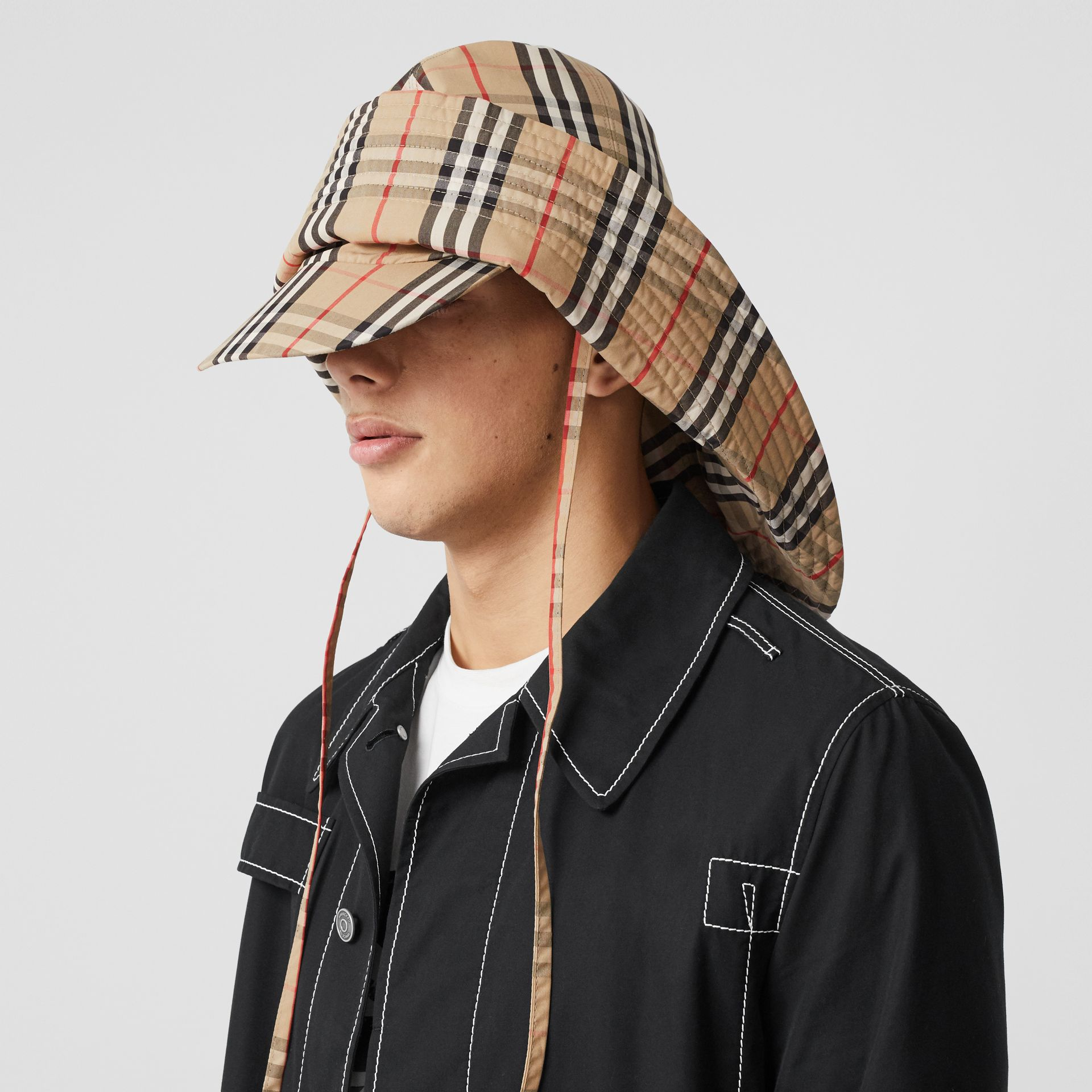 Vintage Check Rain Hat in Archive Beige | Burberry United Kingdom - gallery image 2