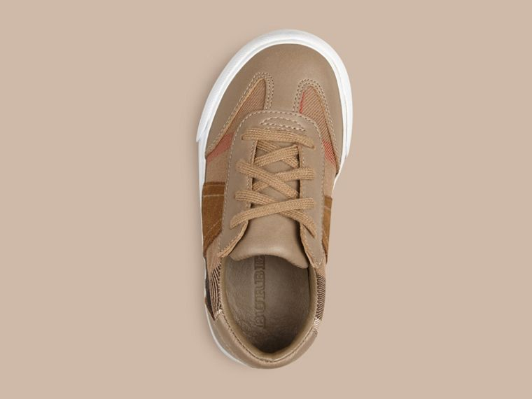 House Check and Leather Trainers - Boy | Burberry - cell image 1