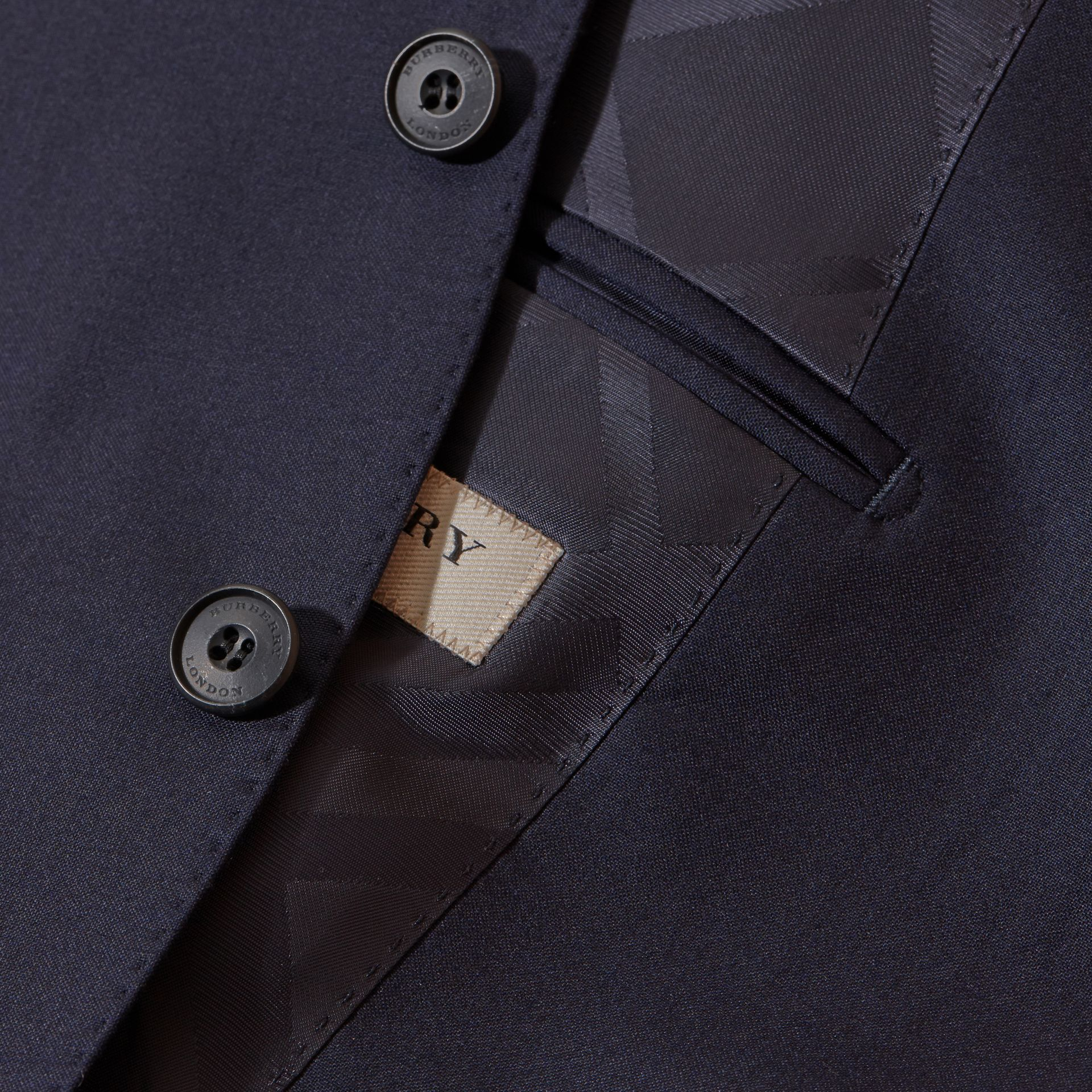 Classic Fit Wool Part-canvas Suit Navy - gallery image 2