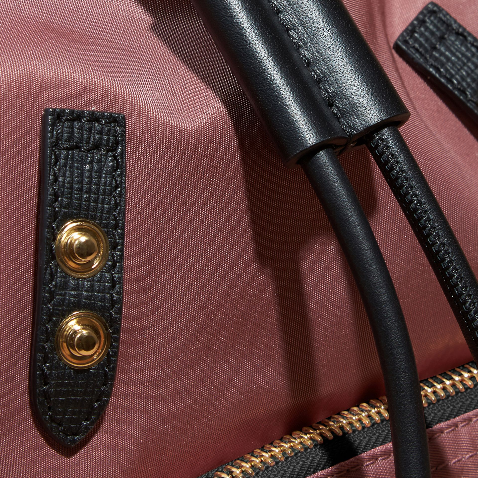 The Small Rucksack in Technical Nylon and Leather in Mauve Pink - gallery image 5