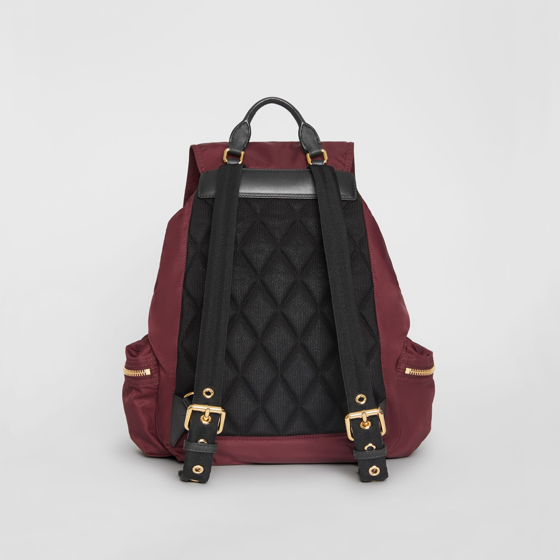 The Large Rucksack in Technical Nylon and Leather in Burgundy Red - Women | Burberry Canada - gallery image 7