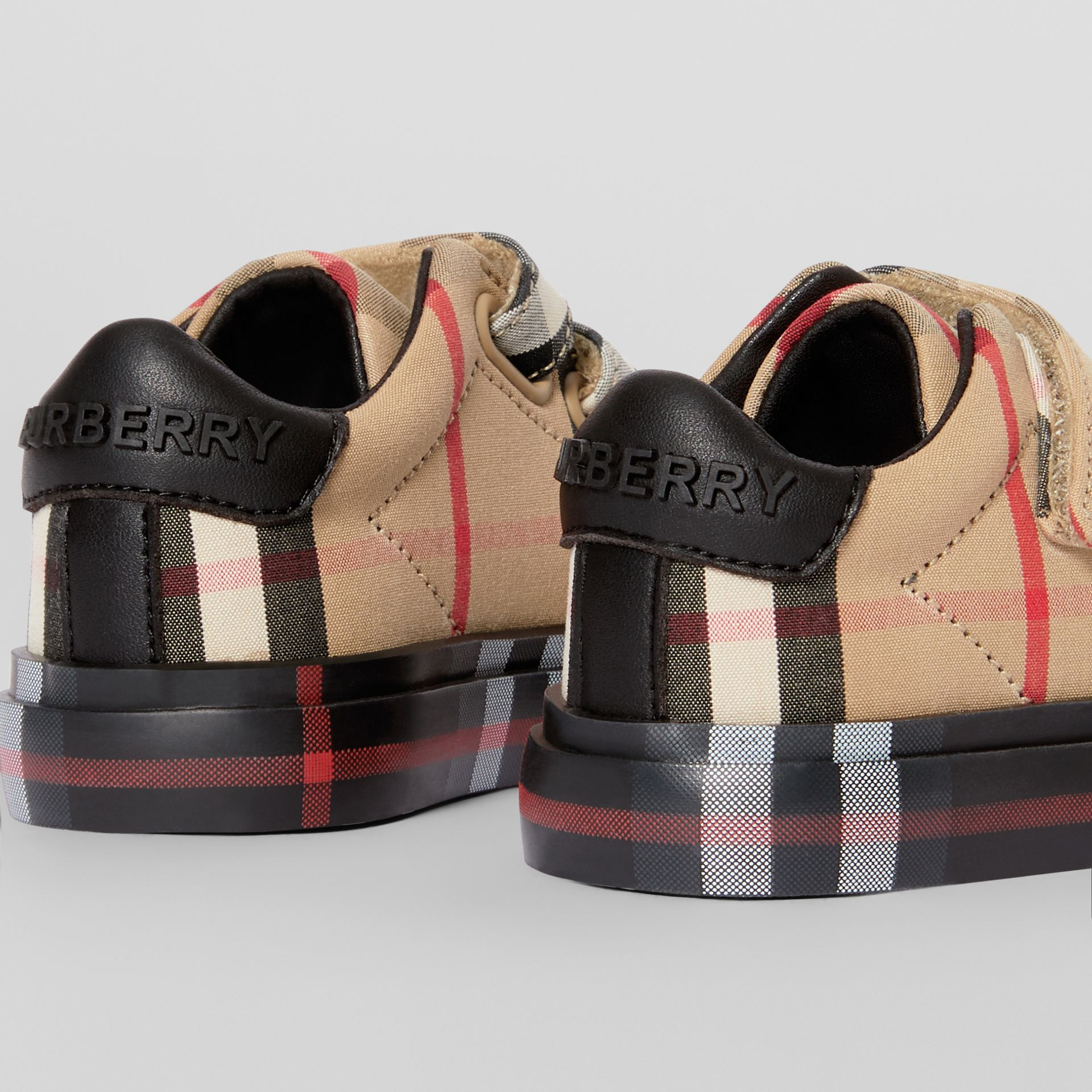 Vintage Check Cotton Sneakers in Archive Beige/black - Children | Burberry Hong Kong - gallery image 1