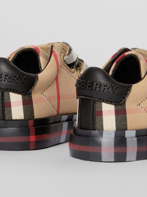 Vintage Check Cotton Sneakers in Archive Beige/black - Children | Burberry United Kingdom - cell image 1