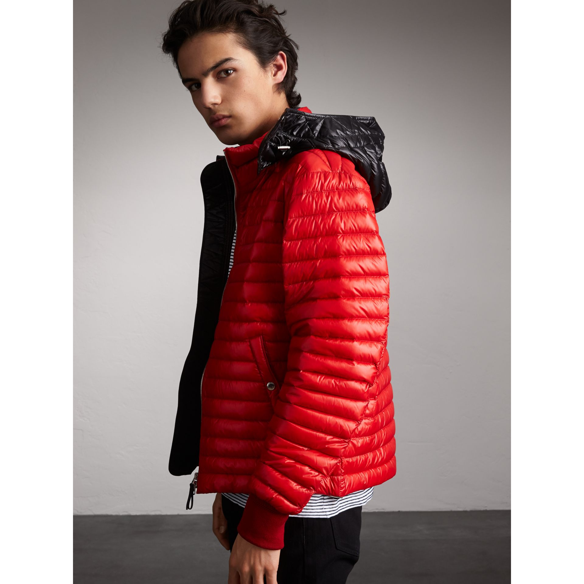Packaway Hood Down-filled Puffer Jacket in Military Red - Men | Burberry Singapore - gallery image 6