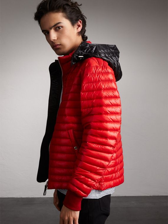 Packaway Hood Down-filled Puffer Jacket in Military Red - Men | Burberry Canada