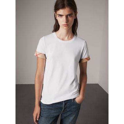 Check Cuff Stretch Cotton T-Shirt in White - Women | Burberry - gallery  image